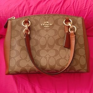 Coach Christie Mini Signature Satchel Khaki Saddle